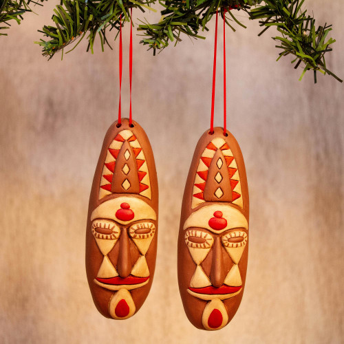 Brown and Beige Ceramic Mask Ornaments from Mexico Pair 'Stunning Masks'