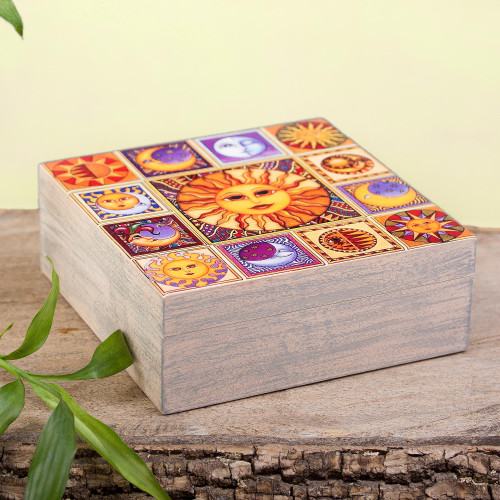 Sun and Moon Motif Decoupage Wood Decorative Box from Mexico 'Sun and Moon Portraits'