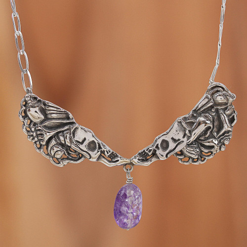 Purple Quartz Catrina Skull Pendant Necklace from Mexico 'Conch Catrina'