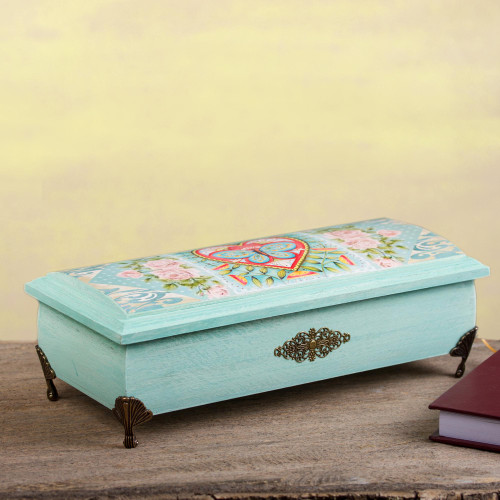 Butterfly Heart Decoupage Wood Decorative Box from Mexico 'Butterfly Heart'