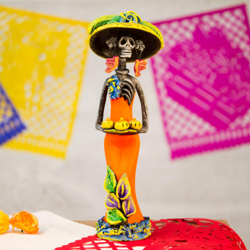 Ceramic Catrina Skeleton Statuette in Orange from Mexico 'Catrina with Pumpkins'