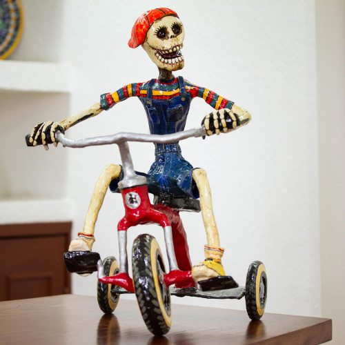 Recycled Papier Mache Sculpture of a Skeleton on a Tricycle 'Tricycle Skeleton'
