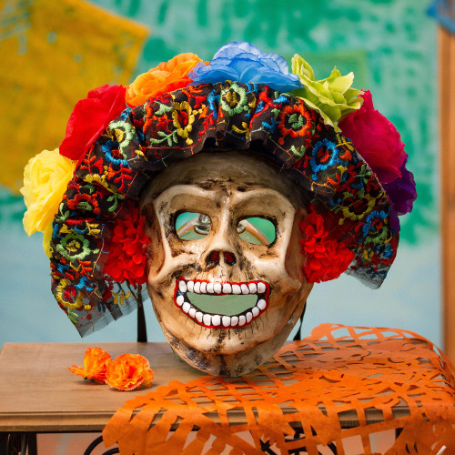 Floral Catrina Recycled Papier Mache Mask from Mexico 'Smiling Catrina'
