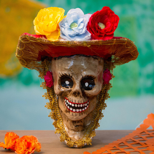 Floral Catrina Recycled Papier Mache Mask from Mexico 'Autumnal Catrina'