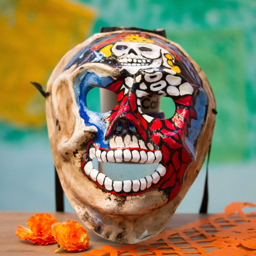 Hand-Painted Recycled Papier Mache Skull Mask from Mexico 'Catrina Skull'