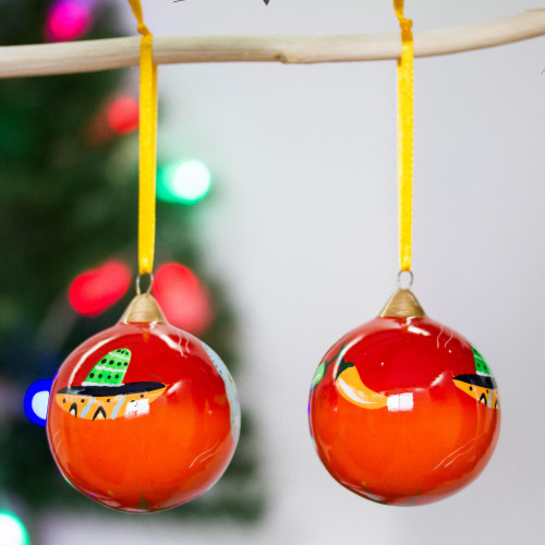 Artisan Handcrafted Mexican Ceramic Ornaments Pair 'Mexican Holiday'