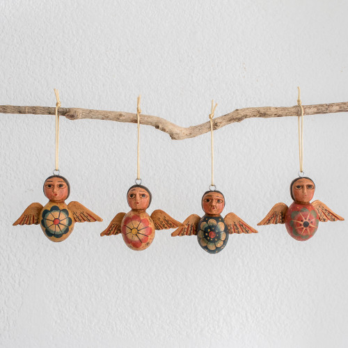 Hand-Painted Floral Wood Angel Ornaments Set of 4 'Angels of the Sky'