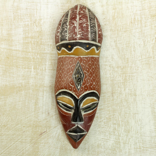 Artisan Crafted Nigerian Wood Mask 'God's Gifts'