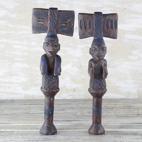 Hand Carved Wood Sculpture Pair 'Yoruba Truth'