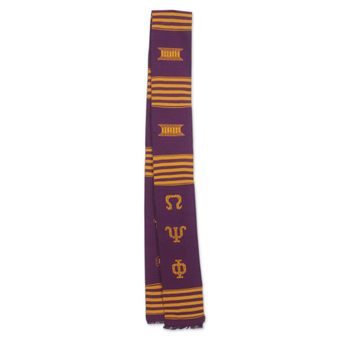African Kente Cloth Purple and Gold Scarf 'Golden Throne'