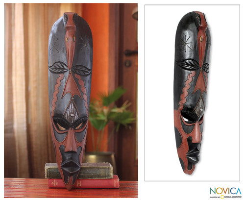 West African Harvest Festival Wood Mask with Bird 'Kato'