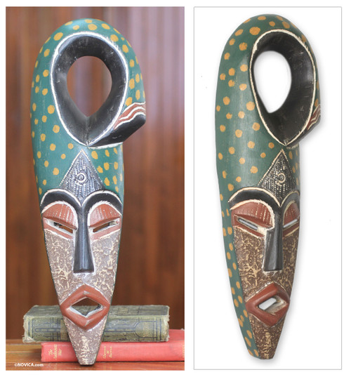 Handcrafted African Wood Mask Nigerian Harvest 'Harvest Chief II'