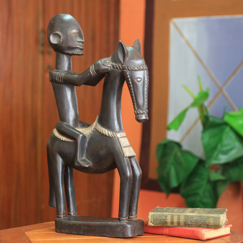 Wood figurine 'Dogon Man on Horseback'