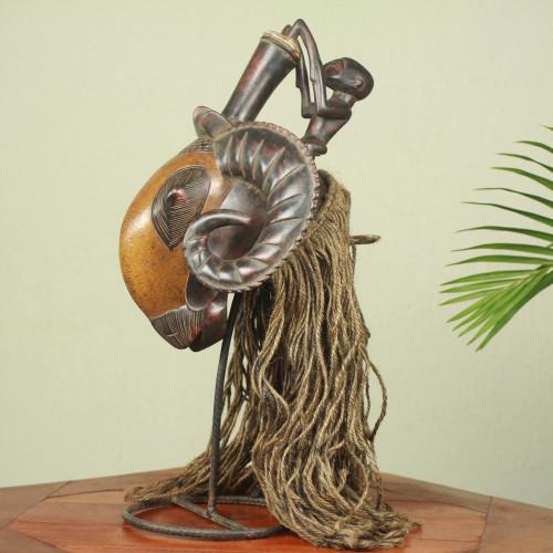Ivoirian African Ram Mask with Jute Mane 'Brown Baule Ram'