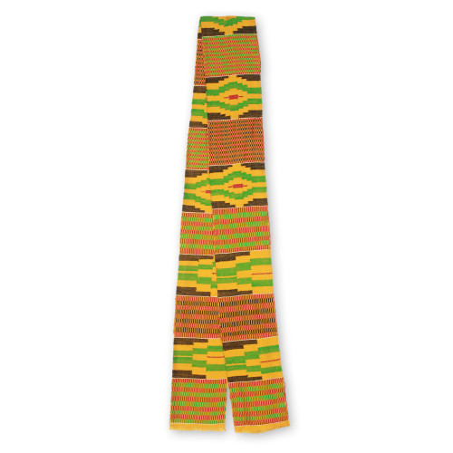 Handwoven African Yellow Kente Cloth Scarf 5 Inch Width 'Akan Gold Dust'