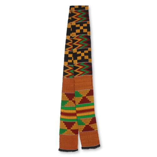 Bright Geometric Handwoven Cotton Blend Kente Scarf 1 Strip 'First Lady'
