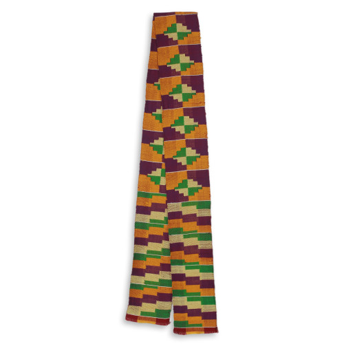 One Strip Handwoven Yellow and Purple African Kente Scarf 'Wisdom for Two'