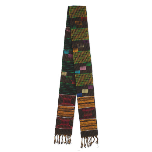 Green and Multicolor Cotton Blend Kente Cloth Scarf 'African Net'