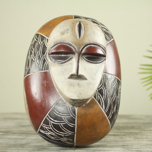 Hand Carved and Painted Ivoirian Style Wood Art Mask 'Guro Shield'