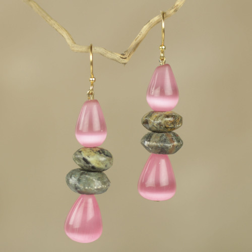 Fair Trade African Beaded Earrings with Pink Cat's Eye 'Odefo'