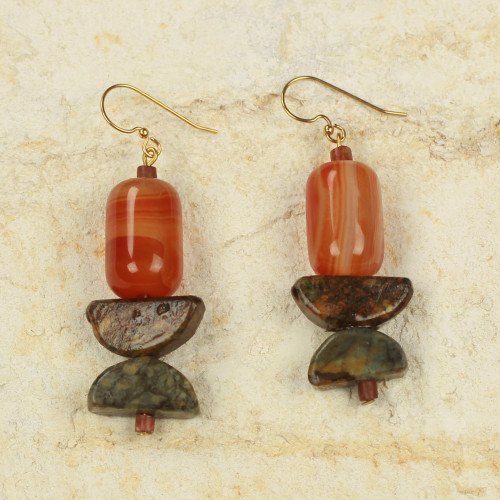 Handcrafted African Agate and Soapstone Earrings 'Star of the Morning'