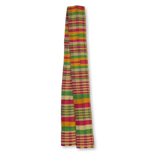 Hand Woven Multicolor Kente Cloth Scarf 4 Inch Width 'Obaahema'