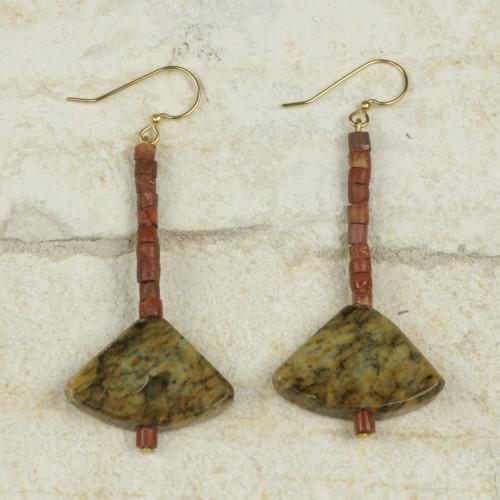 Ghana Handcrafted Soapstone and Bauxite Dangle Earrings 'Bells of Ghana'