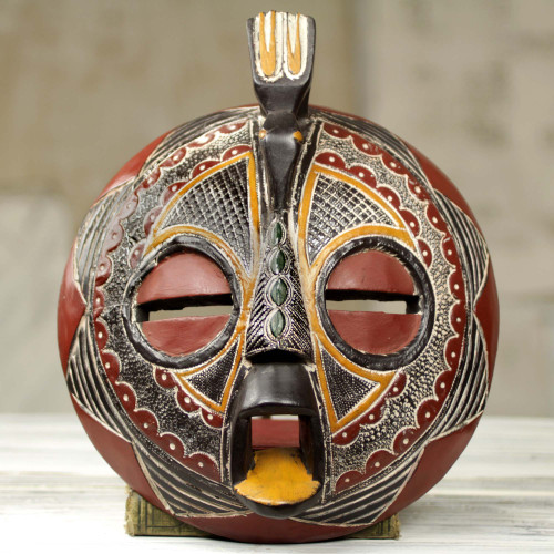 Bird Theme Folk Art Hand Carved African Mask 'Victory Dove'