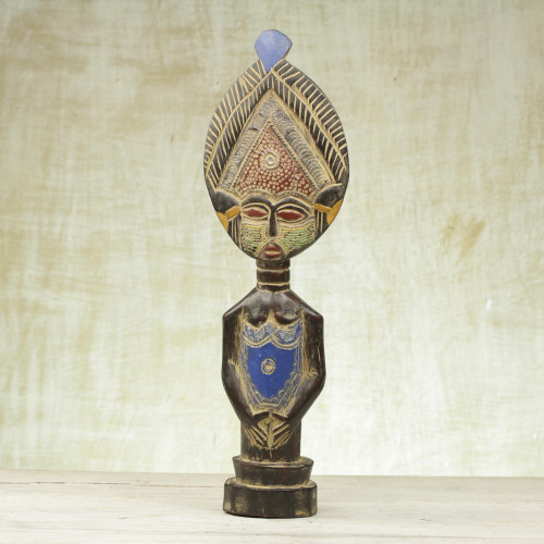 Artisan Hand Carved Sese Wood and Aluminum Beaded Statuette 'Sika Sunsum'