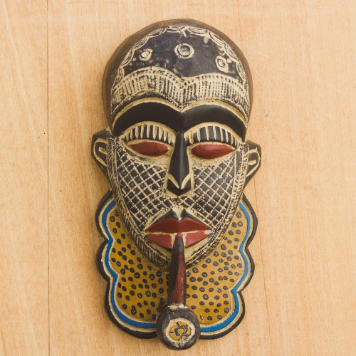 Handcrafted African Wood and Aluminum Mask from Ghana 'Blessed Akinyi'