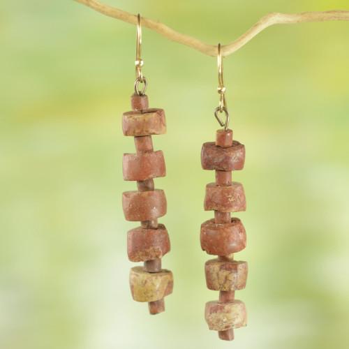 Rustic Bauxite Dangle Earrings from Ghana 'Virtuous Abotari'