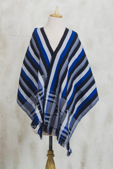 Blue Black and White Hand Woven 100 Cotton Kente Shawl 'Textured Delft Blue'