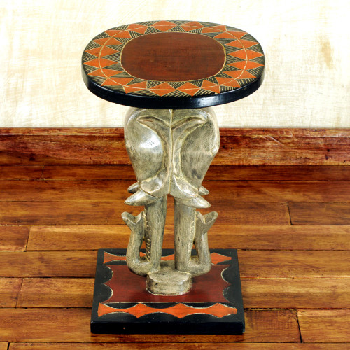 Cedar Wood Accent Table with Sculpted Elephants from Ghana 'Savannah Elephants'