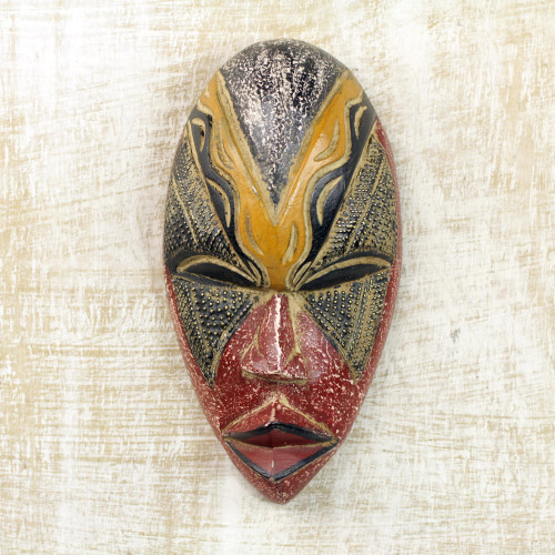 Colorful Sese Wood and Brass African Mask from Ghana 'Stunning Amahle'