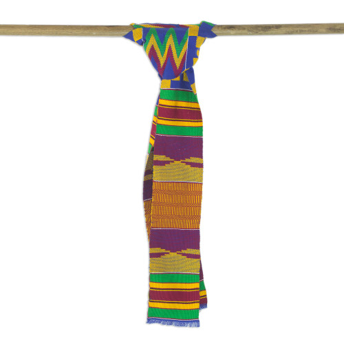 Handwoven Cotton Blend Kente Cloth Scarf 4 Inch Width 'Fathia Beauty'