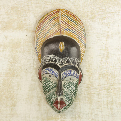 Handcrafted African Sese Wood and Aluminum Mask from Ghana 'Peacock Man'