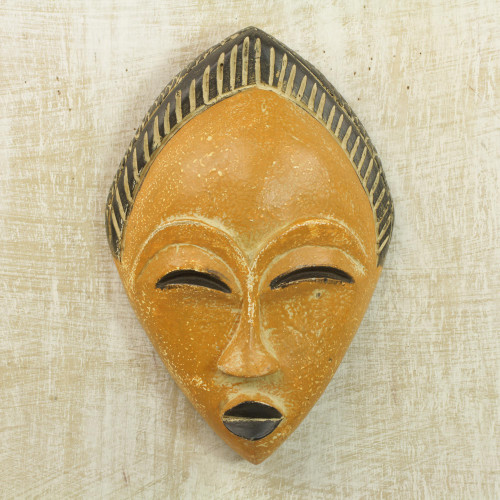 Orange and Black Hand Carved Sese Wood Adesewa Mask 'Orange Adesewa'