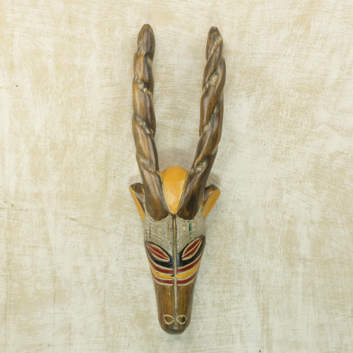 Hand Carved Rubberwood Horned Antelope Mask from Ghana 'Barewa'