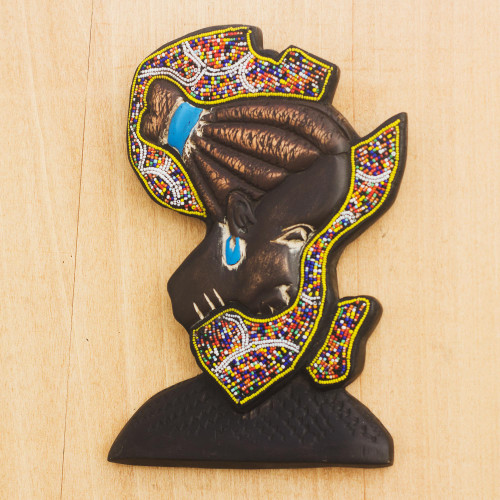 Beaded African Wood Sculpture of African Continent 'African Mama'