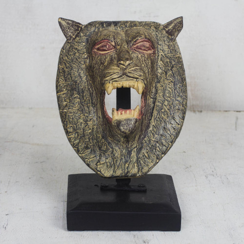 Artisan Crafted Lion Head Sculpture on Wooden Stand 'Lion Head'