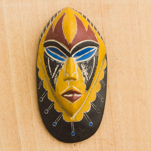 Hand Carved Brown and Yellow African Mask from Ghana 'Joy and Happiness'
