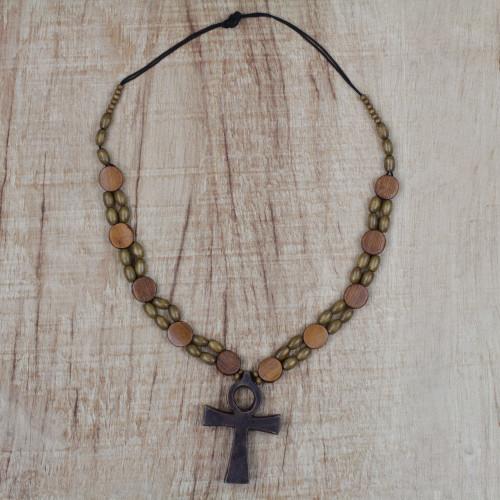 Adjustable Sese Wood Beaded Ankh Pendant Necklace 'Odofa Me Ko'