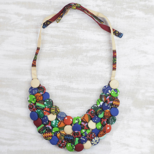 Cotton Button Eclectic Adjustable Statement Necklace 'Everlasting Friendship'