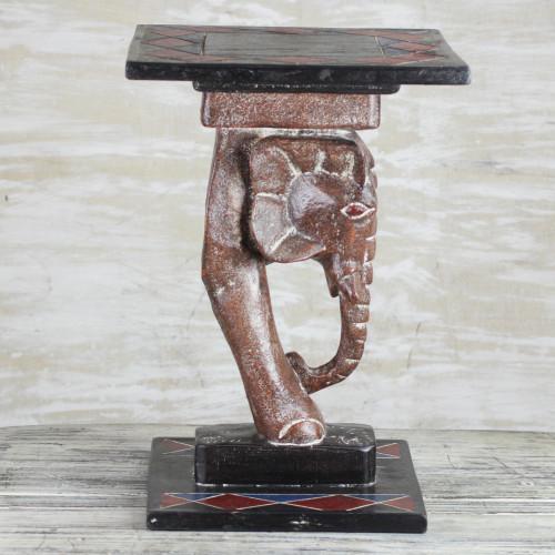 Cedar Wood Elephant Accent Table Crafted in Ghana 'Elephant Step'