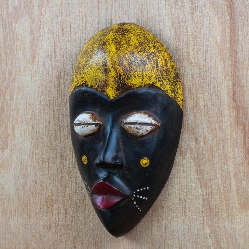 Hand-Carved Black and Yellow African Wood Mask from Ghana 'Adaoma Woman'