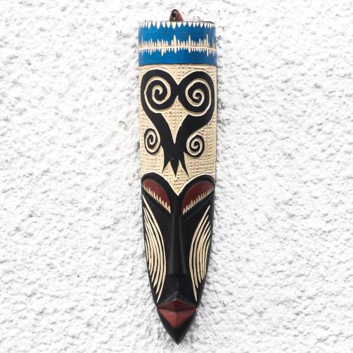 Sankofa-Themed African Wood Mask from Ghana 'Tall Sankofa'