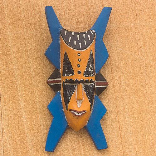 Blue and Orange Hand Carved Wood African Goodness Wall Mask 'Bibawa'