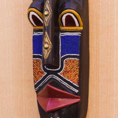 African Wood Mask with Recycled Plastic Beaded Accents 'Gye Nudi'