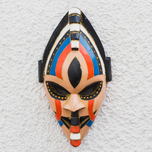 Colorful African Wood Mask Crafted in Ghana 'Adom Color'