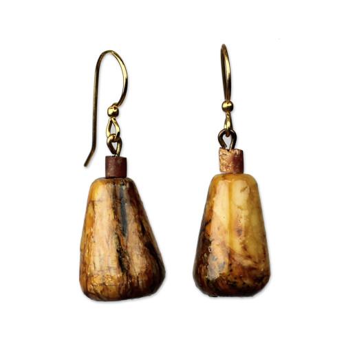 Teardrop Soapstone and Bauxite Dangle Earrings from Ghana 'Africa Drops'